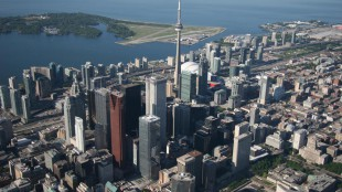 The banking area of downtown Toronto, with the CN Tower and Rogers Centre in the distance