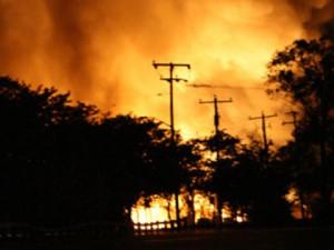 Sunrise propane fire