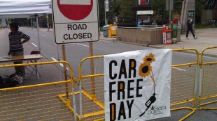 The Car-Free Day event was hosted by the city and the Sierra Club