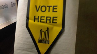 A sign at an advance poll location