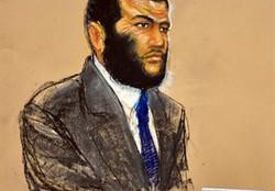 A Pentagon-approved sketch by artist Janet Hamlin shows Omar Khadr listening during testimony by Dr. Wellner at the U.S. military war crimes commission at the Camp Justice compound on Guantanamo Bay U.S. Naval Base in Cuba, on Tuesday Oct. 26, 2010. THE CANADIAN PRESS/POOL, Janet Hamlin