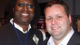 English pop-opera tenor Paul Potts and 680News music reporter Rudy Blair