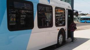 YRT bus picking up passengers at Finch Transit hub