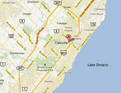 Map Of Oakville Ontario oakville map   680 NEWS