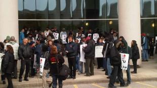 Striking YRT workers outside York Region headquarters