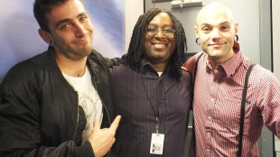 Jacob Hoggard and Dave Rosin, two band members from Canadian band Hedley, along with 680News music reporter Rudy Blair (Nov. 9, 2011)
