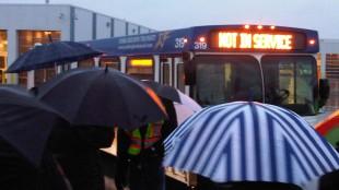 Striking York Region Transit workers picket the Veolia Transport garage near Keele Street and Langstaff Road, causing delays for riders