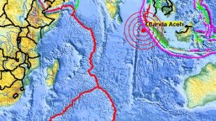 The magnitude struck the waters near Indonesia's Aceh province