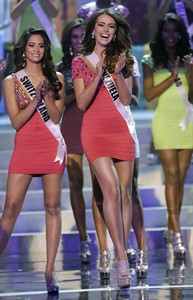 Venezuela's Irene Sofia Esser Quintero reacts as she is named one of the final 16 contestants during the Miss Universe pageant, Wednesday, Dec. 19, 2012, in Las Vegas. (AP Photo/Julie Jacobson)