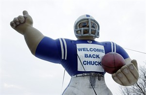 A sign welcomes back Indianapolis Colts head coach Chuck Pagano to the team headquarters Monday, Dec. 24, 2012, in Indianapolis. Pagano returns to the team after undergoing successful leukemia treatment. (AP Photo/Darron Cummings)