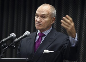 FILE - In this Oct. 18, 2012 file photo, New York City Police Commissioner Ray Kelly speaks about the plot to attack the Federal Reserve, during a news conference in New York. The New York Police Department wants pharmacies in and around the city to fight prescription drug thefts by stocking pill bottles fitted with GPS tracking chips. Kelly is expected to unveil the pioneer project Tuesday, Jan. 15, 2013 at a California conference on health issues hosted by former President Bill Clinton's foundation. (AP Photo/Seth Wenig, File)