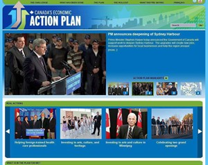 The home page for the website of Canada's Economic Action Plan is shown in an sceen grab from Jan. 5, 2011. THE CANADIAN PRESS/HO
