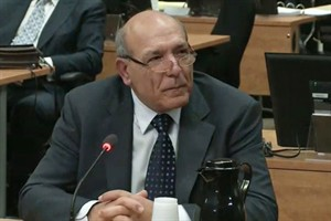 "Nicolo Milioto testifies at the Charbonneau Inquiry in Montreal, Monday, Feb.18, 2013 in this screengrab image. The Quebec corruption inquiry has arrived at the doorstep of the Sicilian Mafia.A man known as ""Mr.Sidewalk,"" Nicolo Milioto, has begun to testify. THE CANADIAN PRESS/HO-Charbonneau Inquiry"