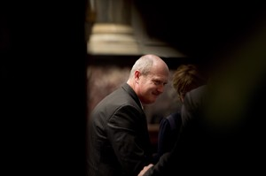 British Columbia Finance Minister Mike de Jong is seen after he delivered the budget in the B.C. Legislature in Victoria, Tuesday, Feb. 19, 2013. THE CANADIAN PRESS/Jonathan Hayward
