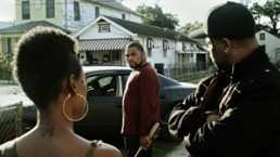 """This film image released by Steelyard Pictures shows Anthony Anderson in a scene from """"The Power of Few,"""" an independent action-drama filmed in New Orleans. Anderson, star of the NBC sitcom """"Guys With Kids,"""" sheds his funnyman persona to play a tattoo-faced, gun-wielding thug making its limited-release debut on Friday, Feb. 22, 2013. (AP Photo/Steelyard Pictures)"""