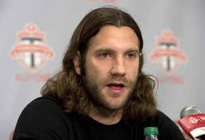 Toronto FC captain Torsten Frings announces his retirement at a news conference in Toronto on Tuesday February 26, 2013. The 36-year-old former German international was coming back from hip surgery that cut short his MLS season last September.THE CANADIAN PRESS/Frank Gunn