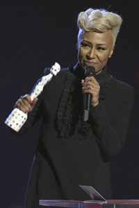 Emeli Sande, winner of the award for Best Female Artist, seen on stage during the BRIT Awards 2013 at the o2 Arena in London on Wednesday, Feb. 20, 2013. (Photo by Joel Ryan/Invision/AP)
