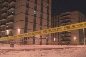 Police are searching for a suspect after a teenager was shot in the stomach near these Woolner Avenue highrises.