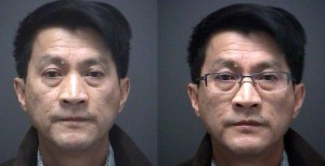 Allen Chow, 60, is charged with 21 counts of sexual assault and 21 other criminal offences related to administering a drug. He is pictured with and without his glasses