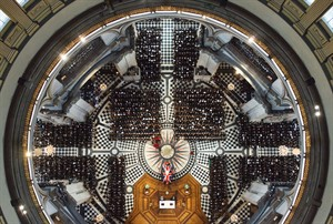An overhead view of guests attending the ceremonial funeral of former British Prime Minister Margaret Thatcher at St Paul's Cathedral in London, Wednesday April 17, 2013. World leaders and dignitaries from 170 countries are due to attend the funeral of former British Prime Minister Margaret Thatcher on Wednesday, an elaborate affair with full military honors that will culminate in a service at St. Paul's Cathedral in London. (AP Photo/Dominic Lipinski, Pool)