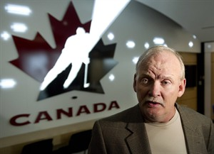 Lindy Ruff shown after being named head coach to the 2013 IIHF World Hockey Championship team during a Hockey Canada press conference in Calgary, Alberta on Wednesday, April 17, 2013. THE CANADIAN PRESS/Larry MacDougal