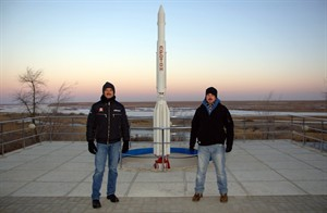 Chris Hadfield (left) and his son Evan pose near a model of a Proton rocket at the Baikonur Cosmodrome in Kazakhstan on Dec. 18, 2012, the day before the Canadian astronaut left for the International Space Station. Hadfield, the first Canadian fo command the space station, is currently on a five-month visit, which ends with his expected return to Earth on May 13. THE CANADIAN PRESS/HO-The Hadfield family