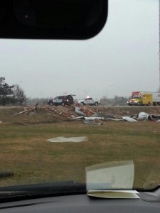 An image showing possible wind damage in areas north of Toronto.