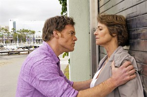 """This undated publicity image released by Showtime shows Michael C. Hall as Dexter Morgan, left, and Charlotte Rampling as Dr. Vogel, in a scene from the final season of """"Dexter."""" THE CANADIAN PRESS/AP-Showtime. Randy Tepper"""