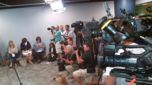 Media gathered for Toronto police chief Bill Blair, who addressed the media at police headquarters on July 29, 2013