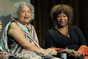 "FLE - In this Aug. 7, 2013 file photo, journalist Charlayne Hunter-Gault, left, and civil rights icon Ruby Bridges take part in a panel discussion on ""The African Americans: Many Rivers to Cross with Henry Louis Gates Jr.,"" during the PBS Summer 2013 TCA press tour at the Beverly Hilton Hotel, in Beverly Hills, Calif. Slavery in the United States was a roaring success whose wounds still afflict the country today. So says Gates, who examines both its success and shame in ""The African Americans: Many Rivers to Cross,"" a new PBS documentary series that traces 500 years of black history. (Photo by Chris Pizzello/Invision/AP, File)"