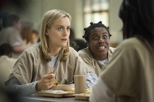 "This undated image provided by Netflix shows Taylor Schilling, left, and Uzo Aduba in a scene from the Netflix series, ""Orange is the New Black."" THE CANADIAN PRESS/AP, Netflix, Paul Schiraldi"