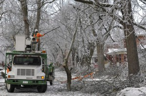 Crews clear branches snagged on power lines on a closed road in Brampton. THE CANADIAN PRESS/J.P. Moczulski