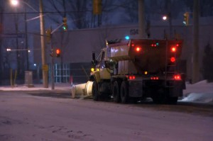 A snow plow clears a street in Toronto on Dec. 14, 2013. CITYNEWS