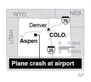 Locates Aspen, Colo., where a private jet crashed; 1c x 1 1/2 inches; 46.5 mm x 38 mm;