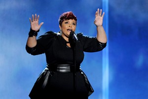 FILE - Tamela Mann performs on stage at the BET Awards at the Nokia Theatre in this Sunday, June 30, 2013 file photo taken in Los Angeles. Mann has won seven awards including top honor artist of the year at the Stellar Gospel Music Awards. Mann broke down in tears as she spoke with the audience during the 29th annual ceremony at Municipal Auditorium in Nashville, Tenn. Saturday Jan. 18, 2014. (Photo by Frank Micelotta/Invision/AP, File)