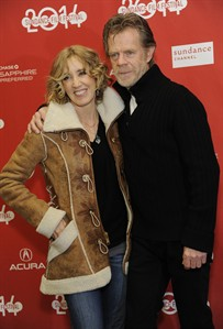 """William H. Macy, right, writer/director/cast member of """"Ruddlerless,"""" poses with his wife, cast member Felicity Huffman, at the premiere of the film at the 2014 Sundance Film Festival, on Friday, Jan. 24, 2014, in Park City, Utah. (Photo by Chris Pizzello/Invision/AP)"""