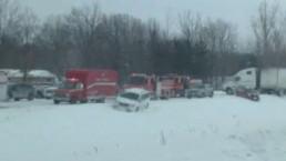 Blinding snow causes pileup on Hwy. 401