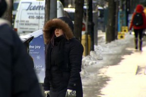 A woman is seen bundled up on a cold day in Toronto on Jan. 7, 2014. CITYNEWS