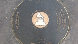 A plaque honours the 2002 Grammy winners in Los Angeles on Jan. 23, 2014. 680News/Rudy Blair.