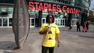 680News music reporter Rudy Blair outside the Staples Center in Los Angeles on Jan. 23, 2014. RUDY BLAIR.