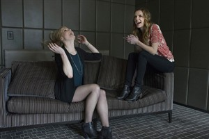 Sarah Allen (left) and Sara Canning are photographed in a Toronto hotel room on Tuesday February 18 , 2014, as they promote the new television series 'Remedy' which will be shown on the Global network. THE CANADIAN PRESS/Chris Young