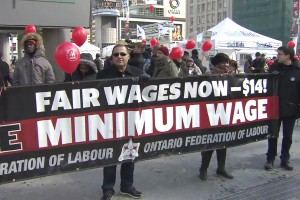 A group calls for the minimum wage to be raised to $14 an hour, Feb. 15, 2014. CITYNEWS