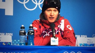 Mike Riddle speaks with the media following his silver medal win in men's ski halfpipe at the Sochi Olympics. IMAGE COURTESY OF: CANADIAN OLYMPIC COMMITTEE