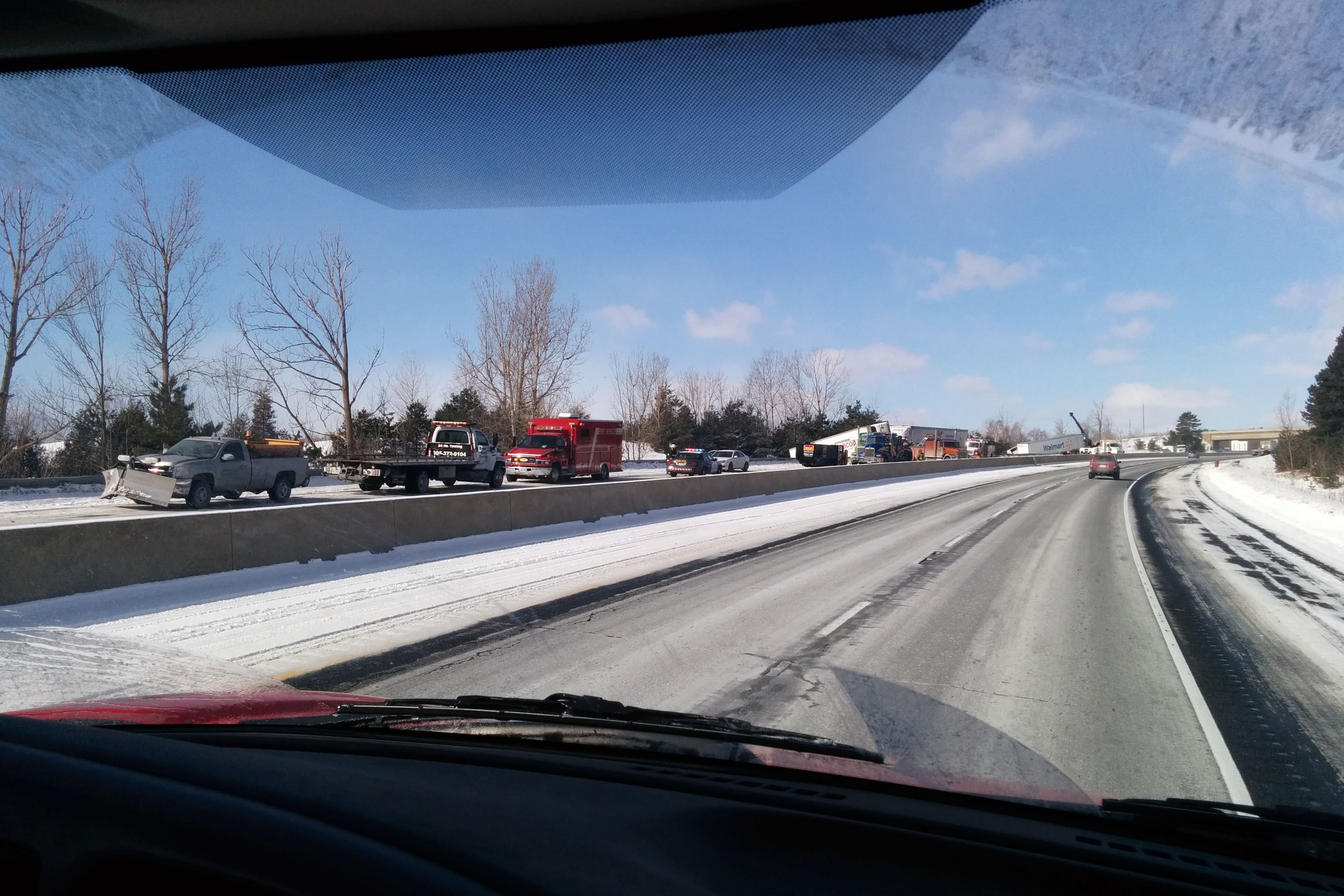 Photo of Highway 401 in Cobourg where a pileup of tractor-trailers occurred was submitted Wednesday by viewer Kevin Tencarre.