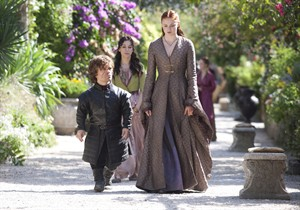"This publicity photo released by HBO shows, Peter Dinklage, left, Sibel Kekili, second left, and Sophie Turner, right, in a scene from the season finale of ""Game of Thrones,"" season 3, episode 10. THE CANADIAN PRESS/AP, HBO, Keith Bernstein"