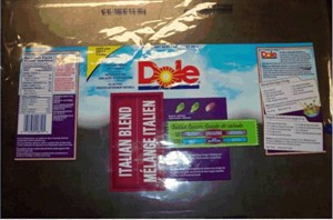 Packaging for the recalled Dole brand Italian Blend Salad is shown. THE CANADIAN PRESS/HO