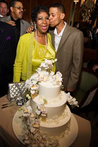 Aretha Franklin and her son Kecalf Cunningham attend her 72nd birthday celebration on Sunday, March 23, 2014 in New York. (Photo by Charles Sykes/Invision/AP)