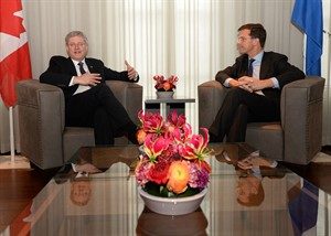 Prime Minister Stephen Harper takes part in a bilateral meeting with Prime Minister of the Netherlands Mark Rutte as he arrives at Catshuis in the Hague, Netherlands, on Sunday, March 23, 2014. THE CANADIAN PRESS/Sean Kilpatrick