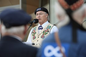 Clement Chartier, President of the Metis National Council, delivers a speech Nov. 11, 2009 in northern France. THE CANADIAN PRESS/AP, David Vincent