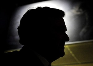 Finance Minister Jim Flaherty is silhouetted during an event at the Canadian Mint at the Canadian War Museum in Ottawa on January 17, 2012. Flaherty died Thursday April 10, 2014. He was 64. THE CANADIAN PRESS/Sean Kilpatrick